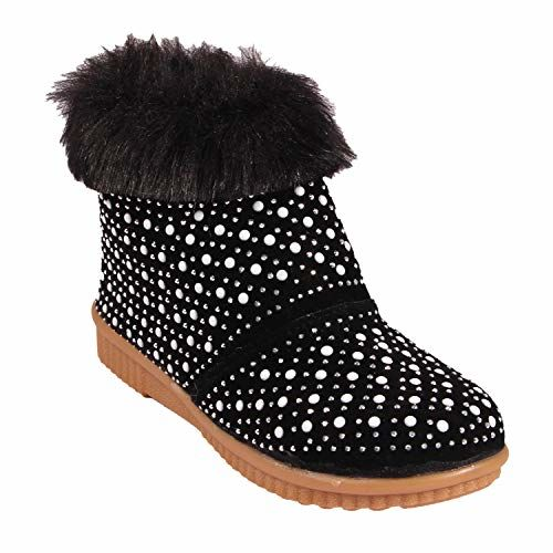 Rgk's Black Long Shoes Booties for Baby Girls of 3 Years | 4 Years | 5 Years | 6 Years | 7 Years | 8 Years | 9 Years (5-5.5 Years)