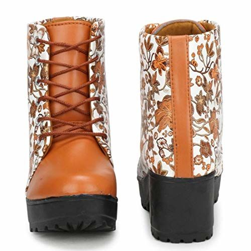 CC Arts Women Tan Brown,White Color Leatherette Material (Size-5) Casual Boots