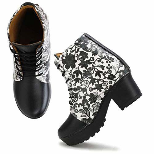 CC Arts Women Black,White Color Leatherette Material (Size-3) Casual Boots