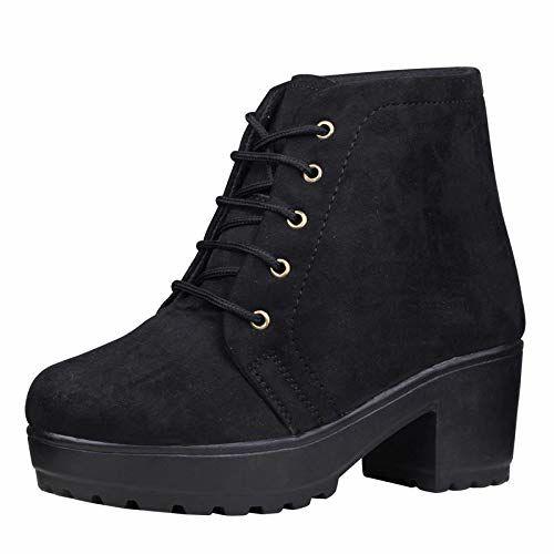 Jking Footwear Women's Suede Leather Ankle Boots(39,Black)