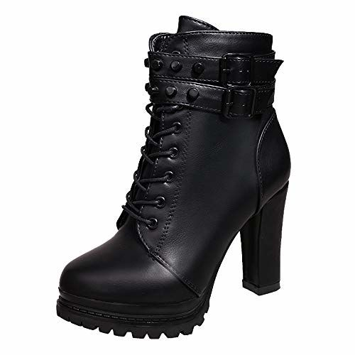 Outtop(TM) Womens High Heel Martain Boots Ladies Leather Lace-Up Solid Color Round Toe Short Booties Shoes Black