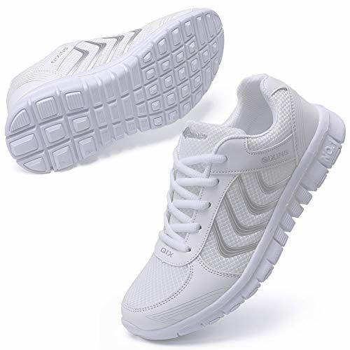 DUOYANGJIASHA White Mesh Lace Up Running Shoes