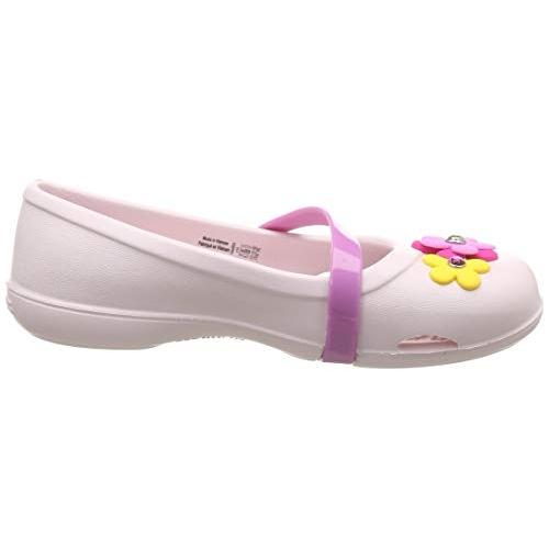 crocs Girl's Lina Charm Flat K Lt. Pink Ballet 7 Kids