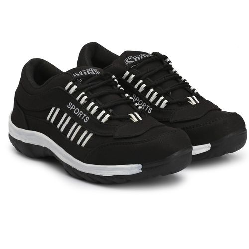 CEONA Boys Lace Running Shoes(Black)