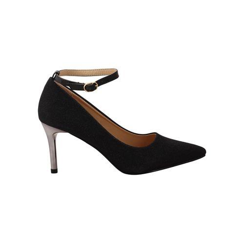 flat n heels black slip on pumps