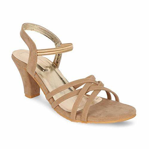 Dymo Heel Sandal for Women and Girls (UK-3) Beige