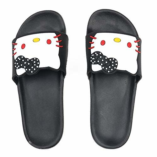 DES TONGS Black Kitty Flip Flops
