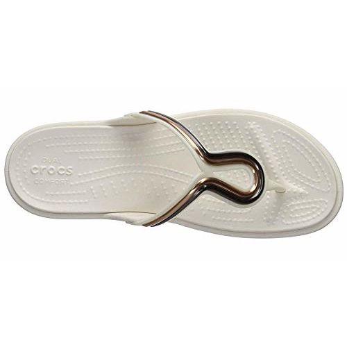 Crocs White Sanrah MetalBlock Flat Flip