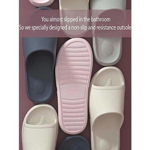 DRUNKEN Slipper for Women's Flip Flops House Slides Massage Home Bathroom Clogs Indoor Off White Sandals