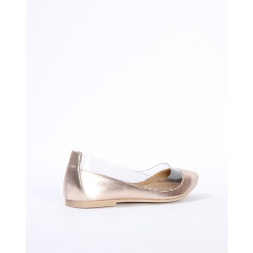AJIO Pointed-Toe Flat Shoes with Clear Panels