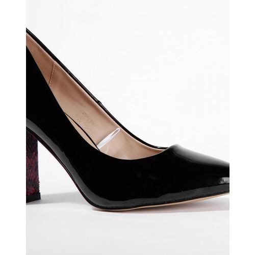 AJIO Pointed-Toe Pumps with Patterned Heel