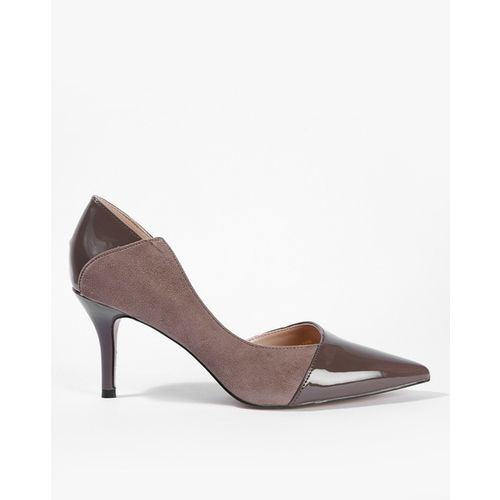 AJIO Panelled Pointed-Toe Suede Pumps