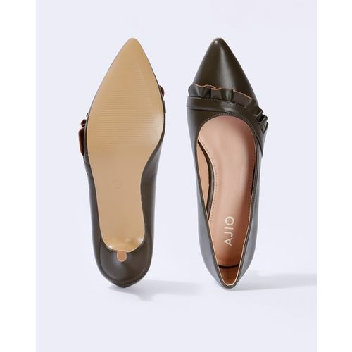 AJIO Pointed-Toe Pumps with Ruffles