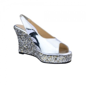 Cinderella Shoes silver back strap wedges
