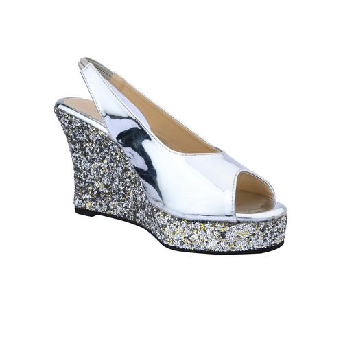 Cinderella Shoes silver back strap wedges