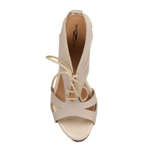 Shezone beige back strap wedges