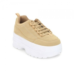 Truffle Collection beige lace-up casual shoes