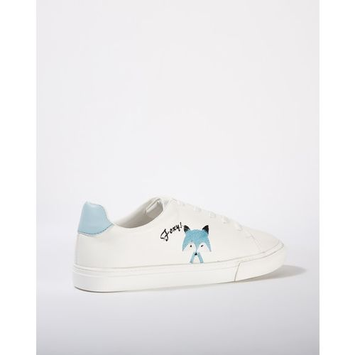 AJIO Lace-Up Casual Shoes with Placement Embroidery