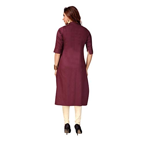 CEE 18 Women's Cotton Straight Feeding Kurta/Maternity Kurta/Easy Breast Feeding Kurti/Western Dress with Zippers for Nursing Pre and Post Pregnancy Wine