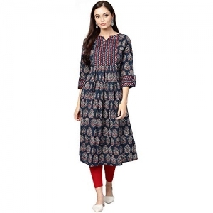 INDO ERA Multicolour Cotton Printed Anarkali Kurta