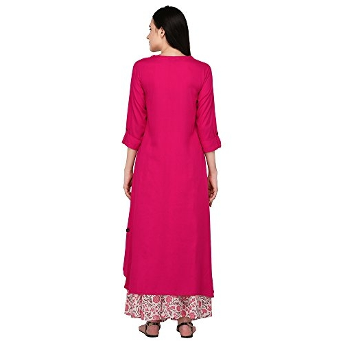 Pistaa's  Viscose Pink High Low Kurta With Printed Palazzo set
