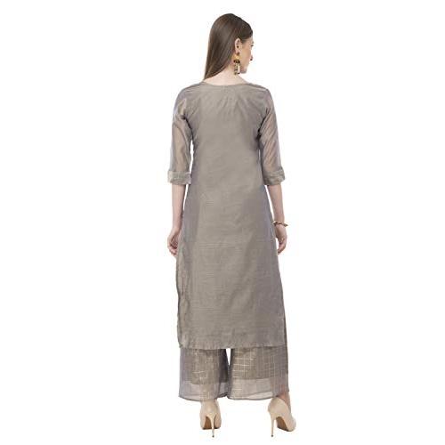 DesiNoor.com Grey Modal & Chanderi Readymade Salwar Suit