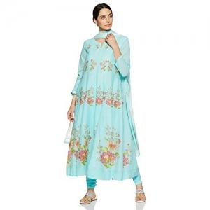 BIBA Sky Blue cotton Straight Salwar Suit Set