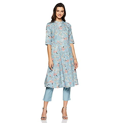 BIBA Sky Blue Cotton Achkan Salwar Suit Set
