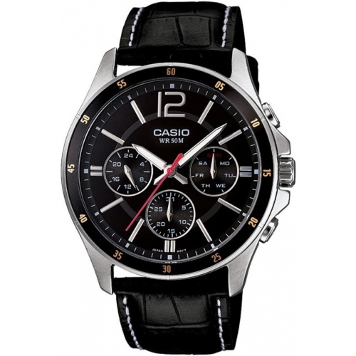 Casio A834 (MTP-1374L-1AVDF) Black Genuine Leather Analog Dial Watch