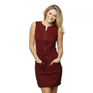 Miss Chase Maroon Solid Cotton Body Con Mini Dress
