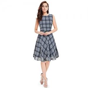PURVAJA Grey Sleeveless Printed Georgette Skater Dress