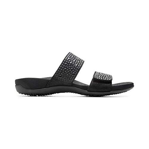 Vionic Rest Samoa Slide Sandal Printed Suede Black Flip Flops