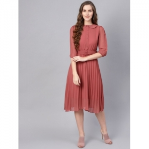 Sassafras Pink Georgette Solid Fit and Flare Dress