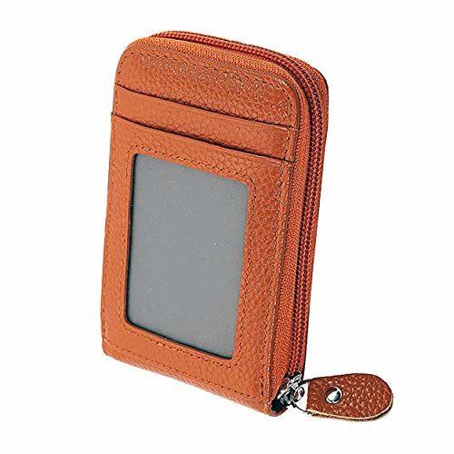 Storite RFID Blocking 10 Slot Leather Credit Debit Card Holder Zipper Wallet with ID Window (Vertical Tan Brown) 7.5 x 2.5 x 11.5 cm