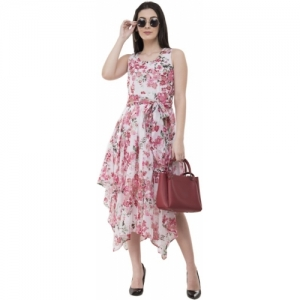 Absorbing White & Pink Floral Printed Asymmetric Dress