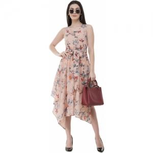 Absorbing  Beige Floral Printed Crepe High Low Dress