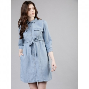 TOKYO TALKIES Sky Blue Solid A-line Denim Shirt Dress