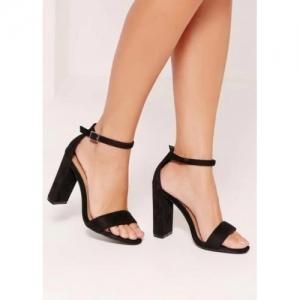 Fashion Tails Black Block Heels Sandal