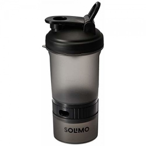 Amazon Brand - Solimo Shaker Bottle 400ml with Storage Compartment and Pill Tray (Flip Handle lid)