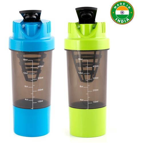HAANS Cyclone Shakers Combo(set of 2) 1000 ml Shaker(Pack of 2, Green, Blue, Plastic)