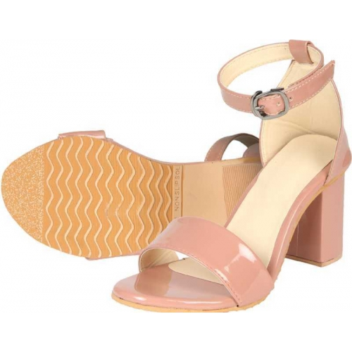 WORKING Peach Patent Leather Heels Sandal