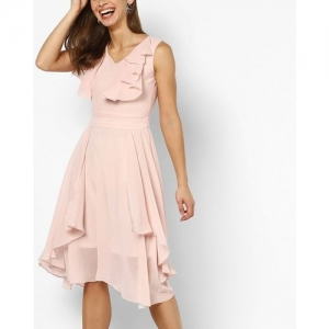 MADAME Flared Sleeveless A-line Dress with Ruffled Panels
