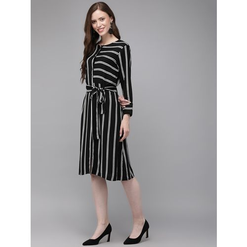 Mimosa tie front striped a-line dress