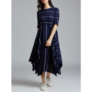 jaipurkurti navy blue striped asymmetric dress