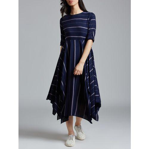 jaipurkurti navy blue striped asymmetric dress