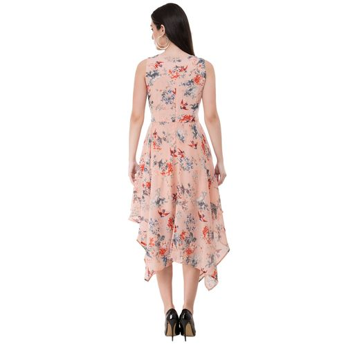 Absorbing rosewater pink floral asymmetric dress