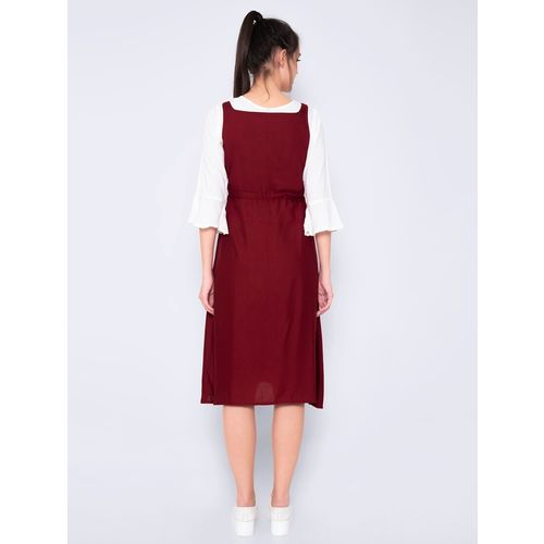 GOD BLESS maroon rayon fit & flare dress