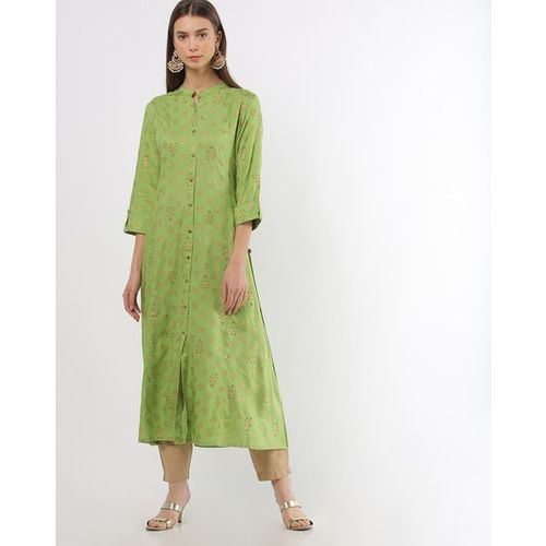 AVAASA MIX N' MATCH Foil Print A-line Kurta with Mandarin Collar