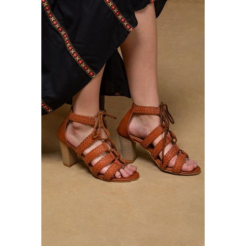 Quilted Brown Polyurethane Heels Sandal