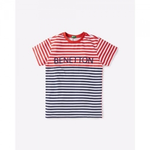 UNITED COLORS OF BENETTON Striped Crew-Neck T-shirt with Branding